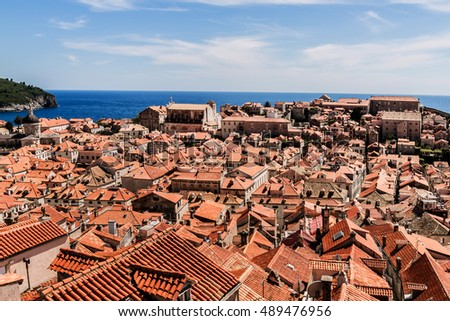Dubrovnik panorama with traditional Mediterranean medieval houses with red tiled roofs. Dubrovnik on Adriatic Sea is one of most prominent tourist destinations, UNESCO World Heritage Site. Croatia.