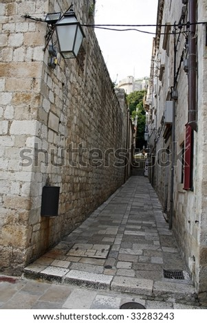 dubrovnik street - stock photo