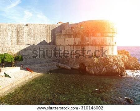 Dubrovnik walls in sunny day, Croatia, Balkan Peninsula, Europe - stock photo