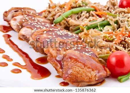 Duck breast with vegetable salad