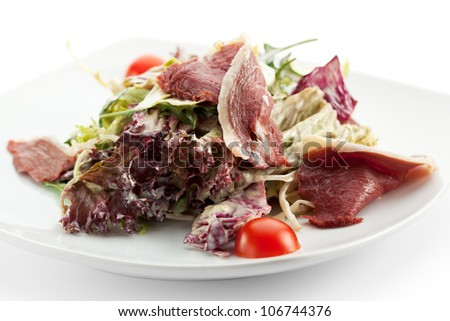 Duck Meat with Salad Mix and Cherry Tomatoes