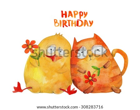 Duckling and kitten with flowers. Happy birthday. Friendship. Watercolor illustration. Hand drawing - stock photo