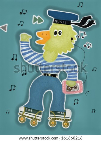 Duckling with a player on the rollers, listening to music - stock photo