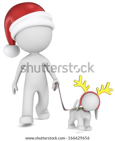 Dude the Santa Claus walking the dog. Front view. - stock photo