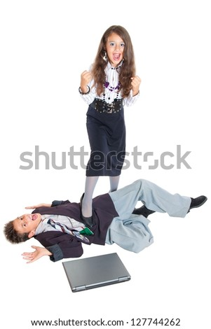 Duel small successful people isolated on white - stock photo