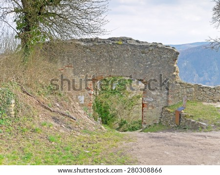 DUERNSTEIN, AUSTRIA - 28 March 2015: An entrance of the castle ruin in Duernstein. According to legend king Richard the Lionheart was imprisoned in the castle.  - stock photo