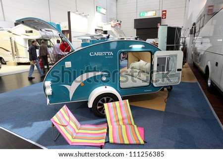 DUESSELDORF - AUGUST 27: Caretta mobile home at the Caravan Salon Exhibition 2012 on August 27, 2012 in Dusseldorf, Germany