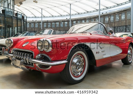 DUESSELDORF, GERMANY - MAY 06: Classic Chevrolet Corvette in the Classic Remise Duesseldorf, a center for vintage cars. It can be found in a historic roundhouse for locomotives. - stock photo