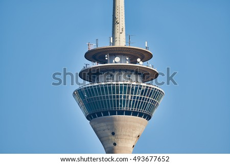 DUESSELDORF, GERMANY - SEPTEMBER 14, 2016: The TV tower hosts a rotating restaurant.