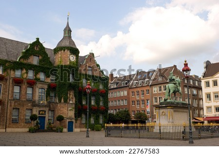 Duesseldorfer Rathaus / central square in Dusseldorf - stock photo