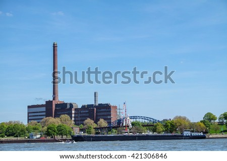 DUISBURG / GERMANY - MAY 05 2016 : The THyssenkrupp power plant  in the sun