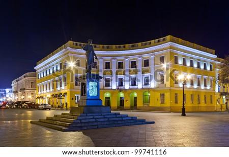 Duke of Richelieu monument in Odessa, Ukraine at night - stock photo