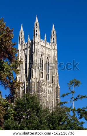 Duke University chapel bell tower located on the campus of Duke University in Durham, North Carolina. - stock photo
