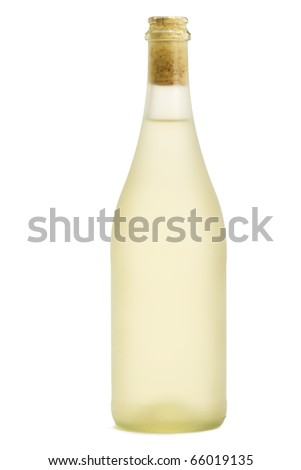 dull prosecco bottle standing on white background - stock photo
