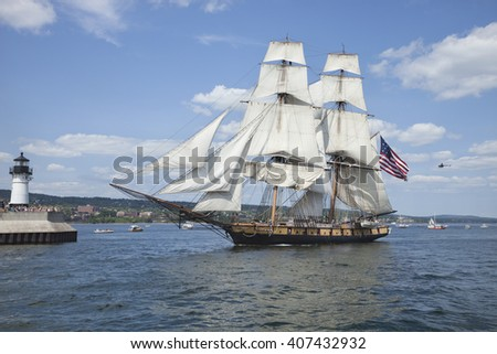 DULUTH, MINNESOTA, USA - JULY 29, 2010: The brig Niagara enters Duluth harbor on Lake Superior during the Tall Ships Festival.