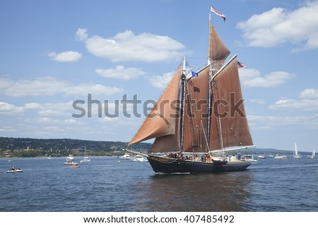 DULUTH, MINNESOTA, USA - JULY 29, 2010: The schooner Roseway enters Duluth harbor on Lake Superior during the Tall Ships Festival. - stock photo