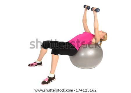 Dumbbell Chest Fly on Stability Fitness Ball Exercise, phase 2 of 2 - stock photo