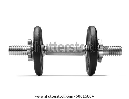 Dumbbell (clipping path) on white background - stock photo