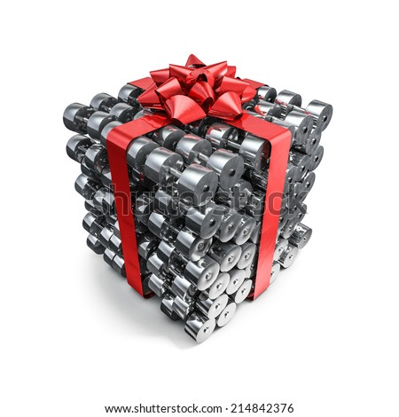 Dumbbell gift - stock photo