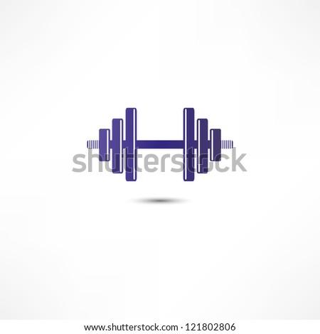 Dumbbell icon - stock photo