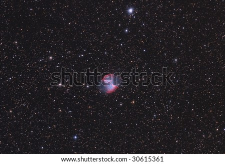 Dumbbell planetary Nebula in Vulpecula (M 27) - stock photo