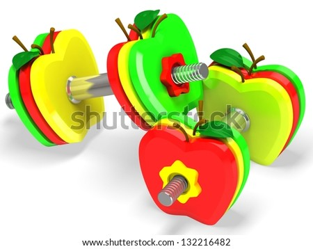 Dumbbell with apples. Healthcare concept - stock photo
