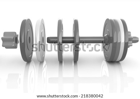dumbbells are assembly and dis-assembly on a white background