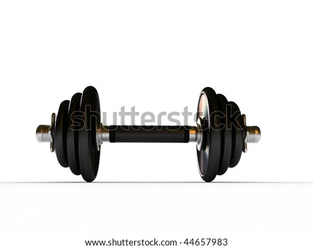 Dumbbells in fitness center - isolated on white background