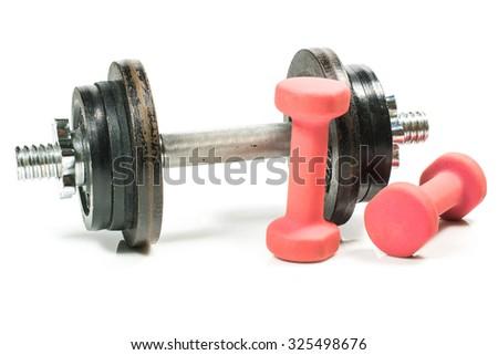 Dumbbells, training weights. Isolated on white background - stock photo