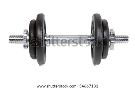 dumbell isolated on white - stock photo