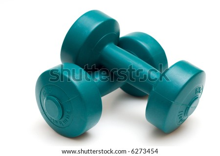 Dumbells isolated on white.Shallow DOF. Focus in front - stock photo