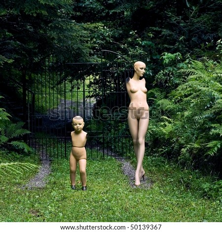 Dummy family in the forest