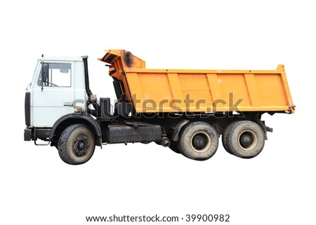 Dump-body truck under the white background - stock photo