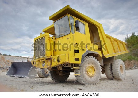 Dumper truck at a construction site - stock photo