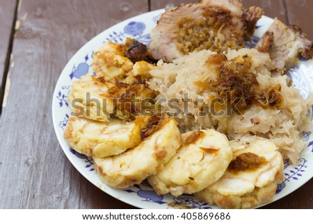Dumpling, cabbage and pork meat as a czech traditional cuisine - stock photo