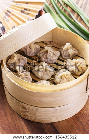 dumpling with filling - stock photo