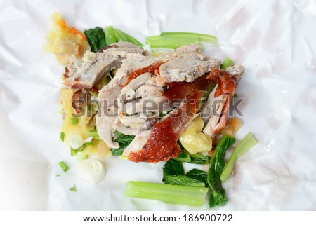 Dumpling with roasted duck on Paper plate / Dumpling with roasted duck