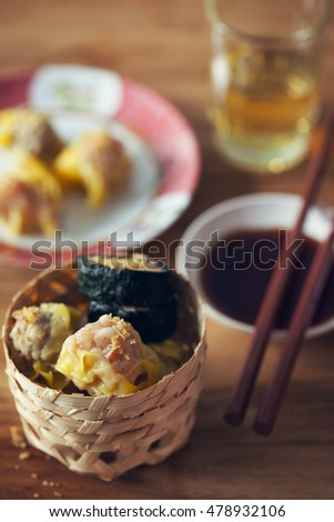 dumplings serve in small basket