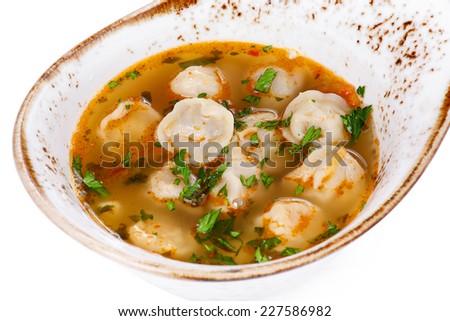 Dumplings with greens - stock photo