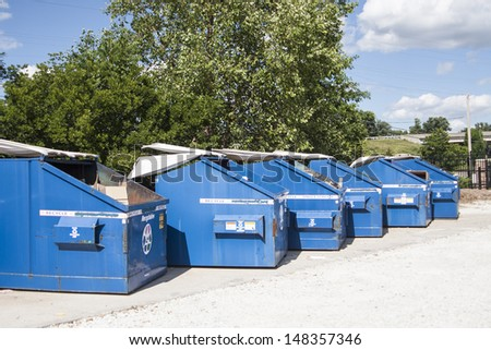 dumpsters used for recycling - stock photo
