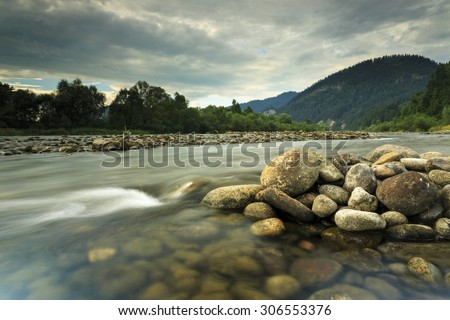 Dunajec River In South Poland.National border between Poland and Slovakia/ Dunajec River Mountain Landscape - stock photo