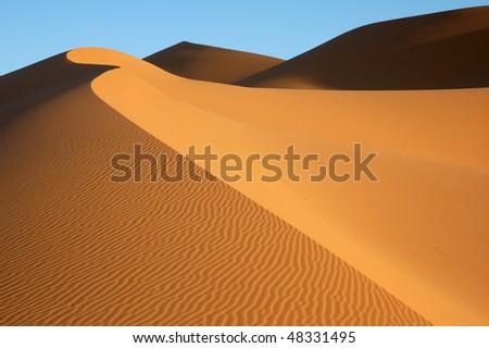 Dune formation on Erg Chebbi - stock photo