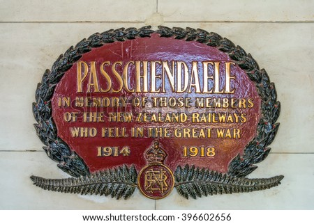 Dunedin, New Zealand - November 16, 2014: The Passchendaele memorial plate at Dunedin railway station, New Zealand. The plate commemorates members who lost their lives during the First World War.