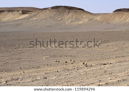 Dunes and gravel plains in Skeleton Coast Park. Namibia - stock photo