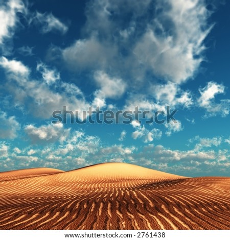 dunes and summer sky - stock photo