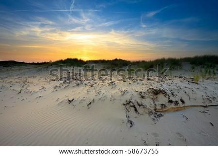 Dunes at sunset - stock photo