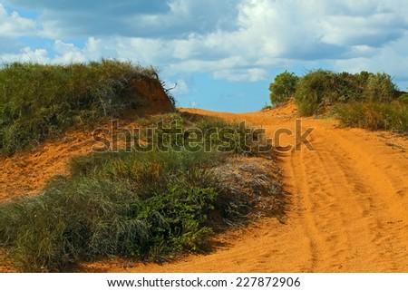 Dunes at the beach of the Mediterranean sea near Netanya, Israel   - stock photo