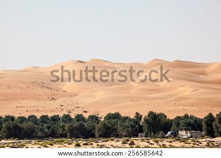Dunes in the Empty Quarter desert. Emirate of Abu Dhabi, United Arab Emirates - stock photo