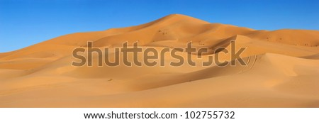 Dunes of Sahara desert in Morocco - stock photo