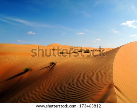 Dunes of the Rub al Khali or Empty Quarter. Straddling Oman, Saudi Arabia, the UAE and Yemen, this is the largest sand desert in the world. - stock photo